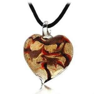 Color Orange, Brown, Bronze Swirl Glitter Heart Silk Pendant Necklace