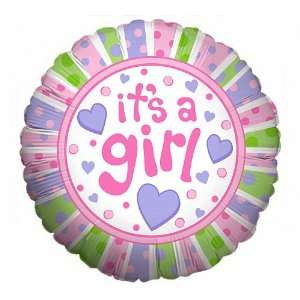 Dots & Hearts Large 18 ROUND Mylar Foil Balloon   Baby SHOWER Shower