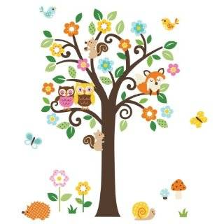 Giant Peel & Stick Nursery Decal   Forest Animals & Flowers Tree for