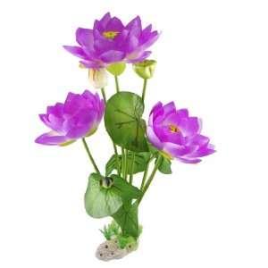 Purple Lotus Flower Green Leaf Water Plant Decor