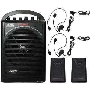 Powered Dual Channel Wireless Microphone Portable Pa System Musical