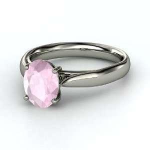 Trellis Solitaire Ring, Oval Rose Quartz 14K White Gold Ring Jewelry