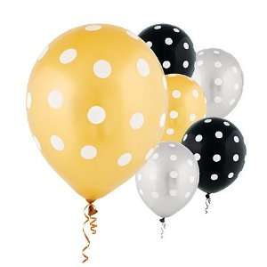 Latex Black, Gold and Silver Polka Dot Balloons 20ct Toys & Games