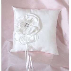 Silk Flower Ring Pillow with Crystals