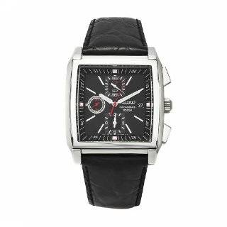 Seiko Mens SNAB05 Chronograph Black Dial Black Leather Alarm Watch