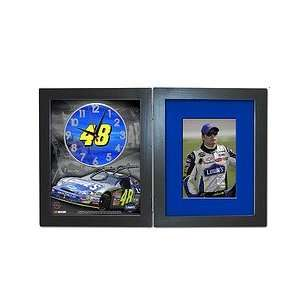 Jimmie Johnson shadow box clock with picture frame Sports & Outdoors