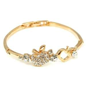 High Quality Elegant Apple Bangle with Silver Swarovski Crystal (1600