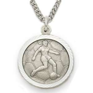 Sterling Silver Saint Christopher Soccer Pendant Necklace