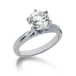 Engagement Ring Round Prong Solitaire 14k White Gold DALES Jewelry