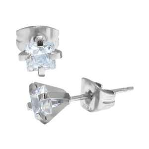 Inox Jewelry 316 Stainless Steel Square cz Stud Earrings