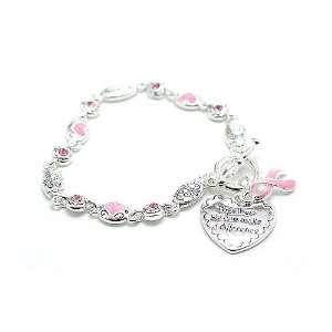 Breast Cancer Awareness Pink Ribbon Toggle Bracelet Arts