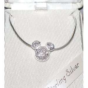 Disney Th Pk Ex Sterling Silver Pave Crystal Mickey Icon
