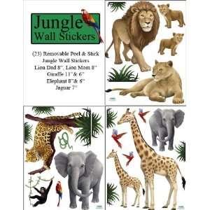 Jungle Animal Wall Decals (23) Peel & Stick Wild Jungle Safari Kids