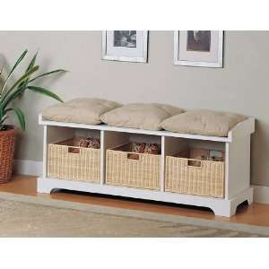 White Finished Entryway Storage Bench Home & Kitchen