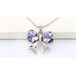 Butterfly Swarovski Crystal Necklace Arts, Crafts