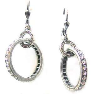 Tiered Hoop Dangle Earrings with Clear Swarovski Crystals Jewelry