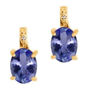 Blue Tanzanite and White Diamond 18k Yellow Gold Earrings Jewelry
