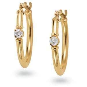 14k Yellow Gold Diamond Hoop Earrings (1/10 cttw, I J Color, I2 I3