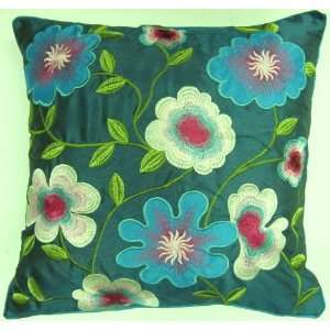 TROPICAL FAUX SILK TEAL GREEN BLUE EMBROIDERED APPLIQUED 18 CUSHION