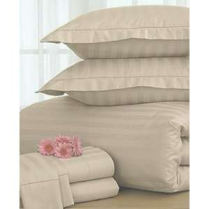 Damask Stripe 500 TC Taupe Beige Twin Duvet Cover NEW