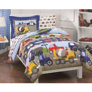 , Police Cars, Tractors, Boys Twin Comforter Set (5 Piece Bedding