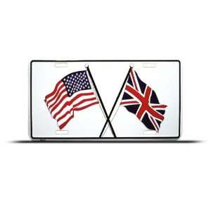 American British England Union Jack Metal License Plate Automotive
