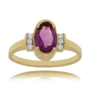 Amethyst Ring Yellow Gold w/ Diamonds   Unique Setting