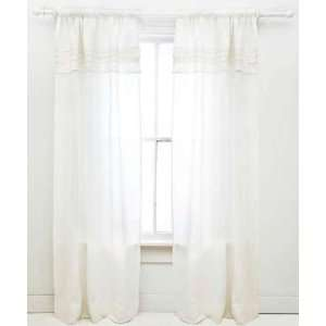 Pine Cone Hill Curtain Panel Pleated Linen White 96inch