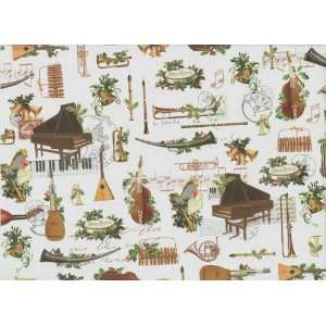 Musical Instruments Christmas Gift Wrap Paper