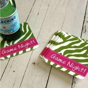 personalized paper coaster sets zebra pattern