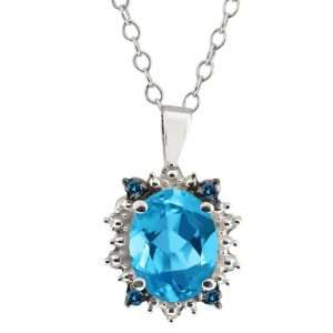 2.22 Ct Oval Swiss Blue Topaz and Blue Diamond Sterling