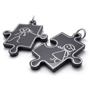 Jigsaw Couples Black Stainless Steel Pendant Necklace