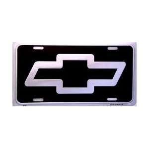 Chevy Bow Tie Logo LP Silver on Black   3770: Automotive