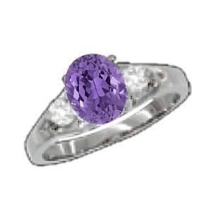 0.84 Ct 7X5 Oval Amethyst Diamond 14K White Gold Ring