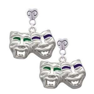 Comedy Tragedy Mask Mini Heart Charm Earrings [Jewelry
