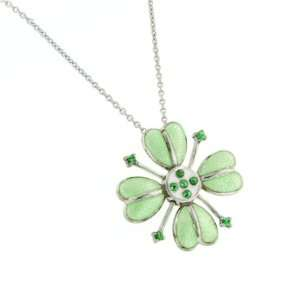 Sterling silver and enamel hearts necklace with tsavorite