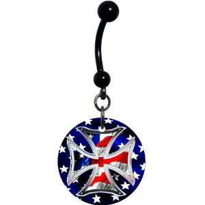 Patriotic Iron Cross Belly Ring Jewelry