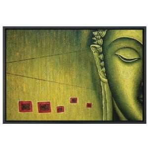 Framed Oil Painting   Green Buddha Home & Kitchen