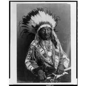 Chief Red Cloud,holding peace pipe,feathers,Oglala Lakota Sioux,War