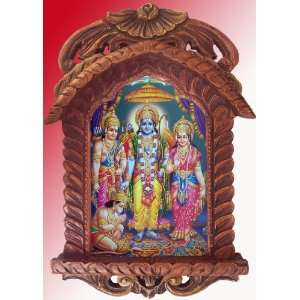 Sita, Ram & Hanuman, Ram Darbar, Painting in Traditional Jarokha