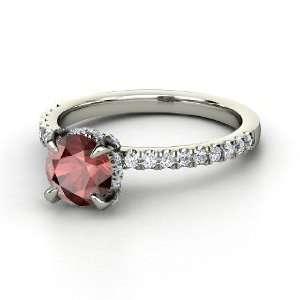 Ring, Round Red Garnet 14K White Gold Ring with Diamond Jewelry