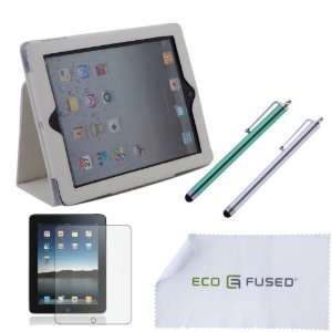 Premium White Stand PU Leather Case For iPad 2 With Two