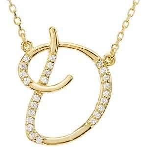 14K Yellow Gold Alphabet Initial Letter D Diamond Pendant Necklace, 17