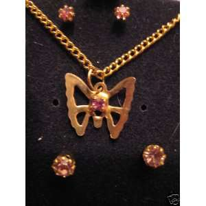 2 Earring Set & Butterfly Necklace with Red Stone (Item J