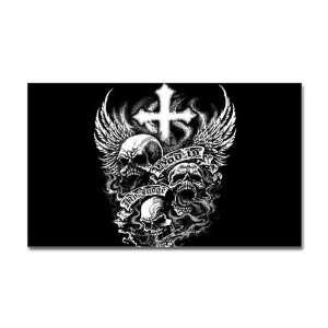 Sticker (Rectangle) God Is My Judge Skulls Cross and Angel