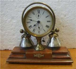 German antique decorative boudoir bedroom alarm clock wood / metal