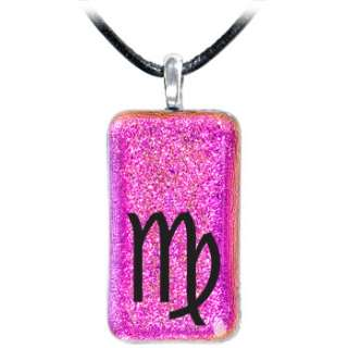 Holly Lynn Pink VIRGO Zodiac Dichroic Glass Necklace Body Candy