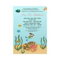 5x7 Girl Under the Sea Birthday Party Invitation by thepapergenius
