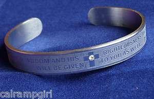 Silver Religious Cuff Bracelet Christian Matthew 633 Bible Verse