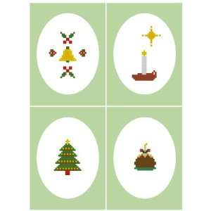 Christmas Tree Bell Candle Cross Stitch Card Kit 4.3 x 6